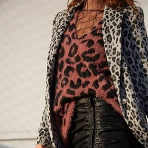 Forever21 Fuzzy Knit Leopard Print Sweater